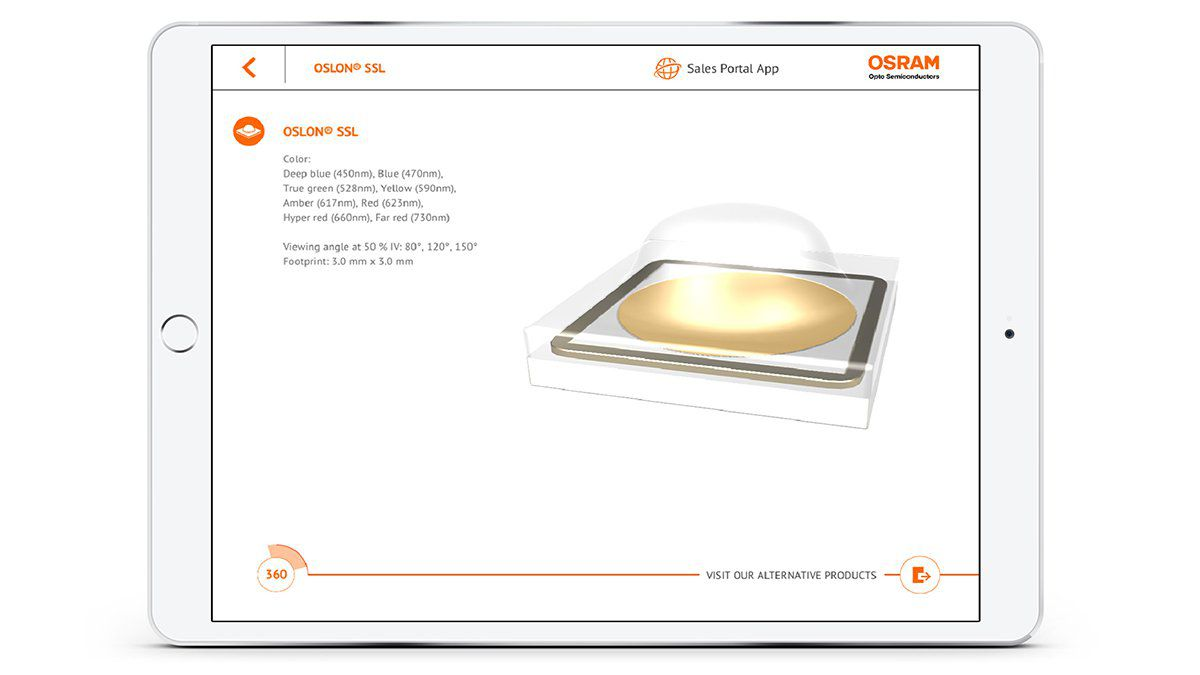 OSRAM Virtueller Produktkatalog Impressions from App LED product information