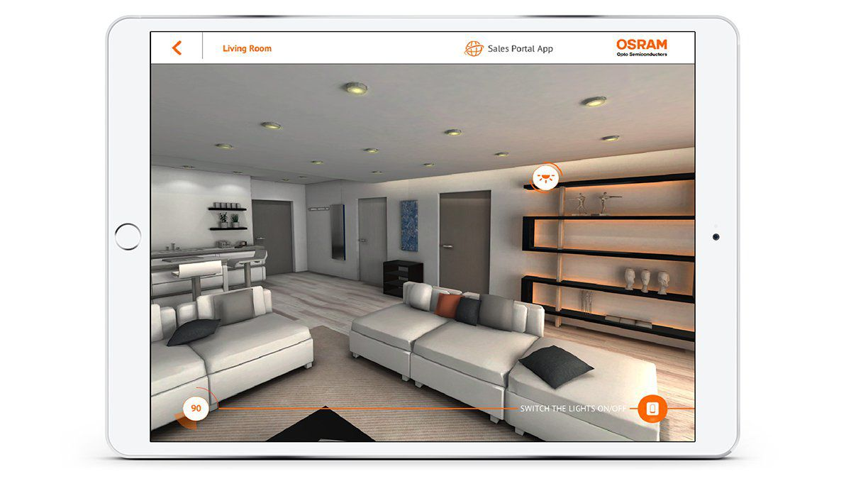 OSRAM Virtueller Produktkatalog Impressions from App Living Room