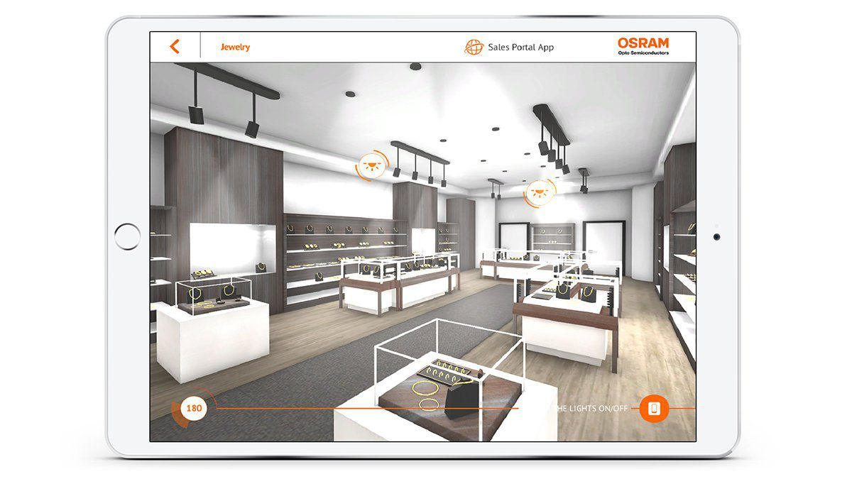 OSRAM Virtueller Produktkatalog Impressions from App Retail Space